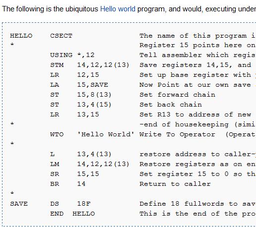 IBM assembler program